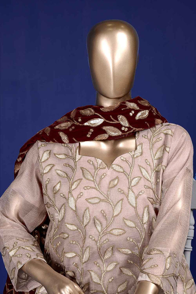 Sunstone (VS-1B) Unstitched Embroidered Mysoori Shirt with Embroidered Velvet Shawl