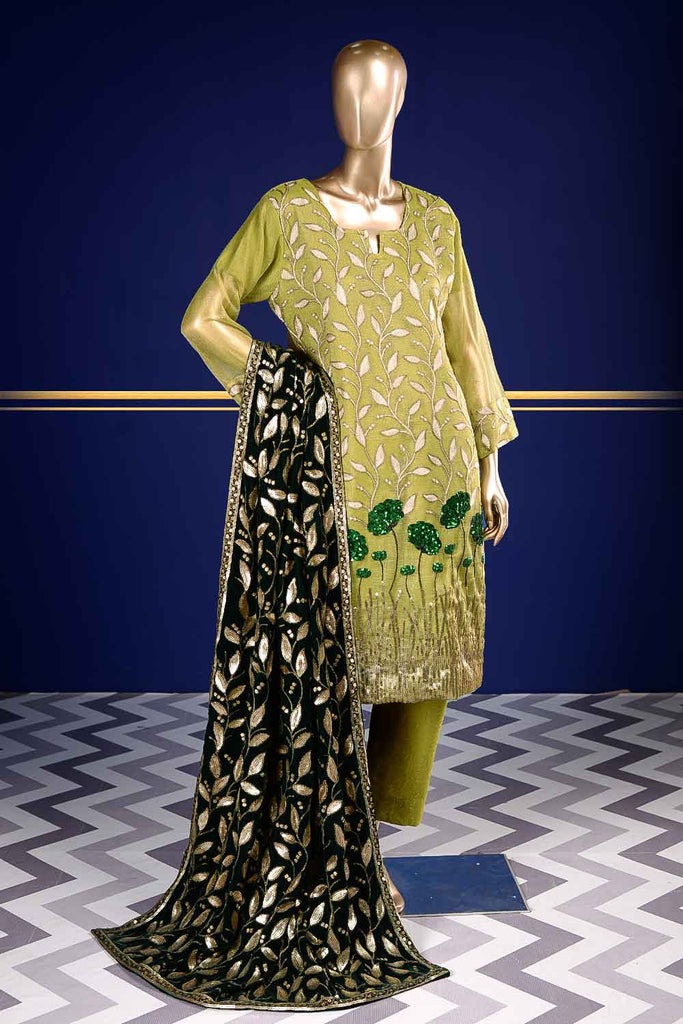 Moldavite (VS-1C) Unstitched Embroidered Mysoori Shirt with Embroidered Velvet Shawl