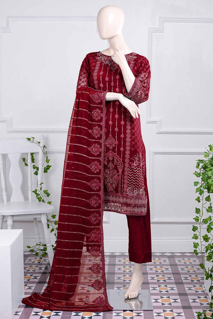 Daedalian (G5-1C) | Embroidered Un-Stitched Chiffon Dress With Embroidered Chiffon Dupatta
