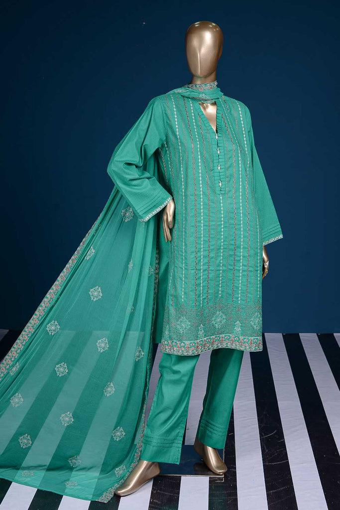Queen Dots (SC-97A-Cyan) Embroidered Cambric Dress with Embroidered Chiffon Dupatta