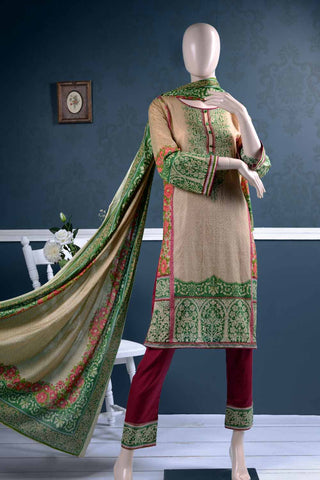 Un-stitched Lawn Printed Dress with Printed Lawn Dupatta (AZ-1A) External Flame