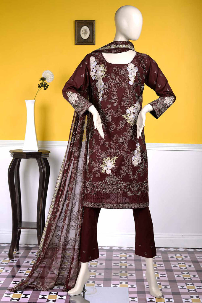Bold Art (BZ-9A)  | Embroidered Un-stitched Cambric Dress with Chiffon Dupatta