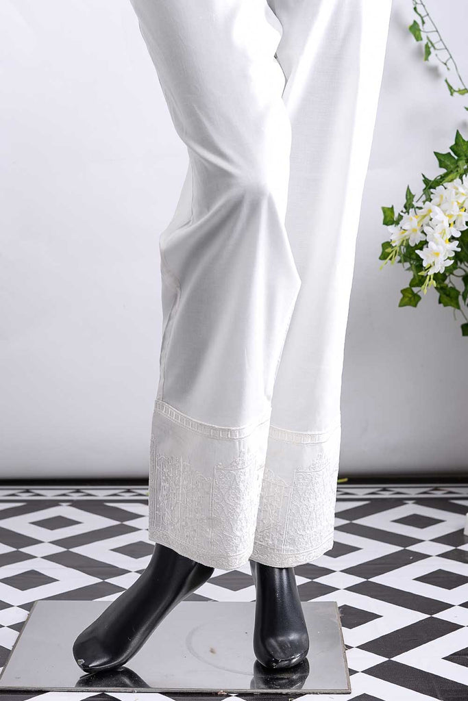 Cambric Embroidered Trouser | Gate Bottom Offwhite (GP-27A)