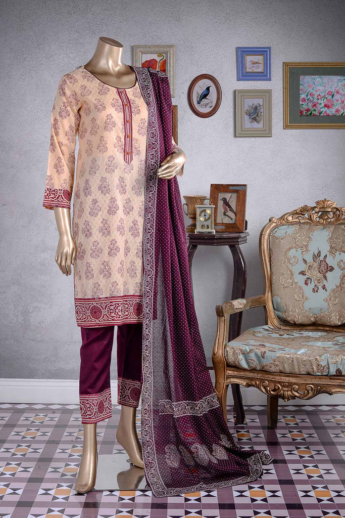 Traditionalist (RL-1B) | Unstitched Printed Lawn Suit with Jacquard Lawn Printed Dupatta