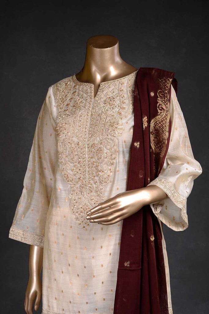 Dynamism (EM-1B) | 3 Pc Mysoori Embroidered Dress with Handicraft Pearl work