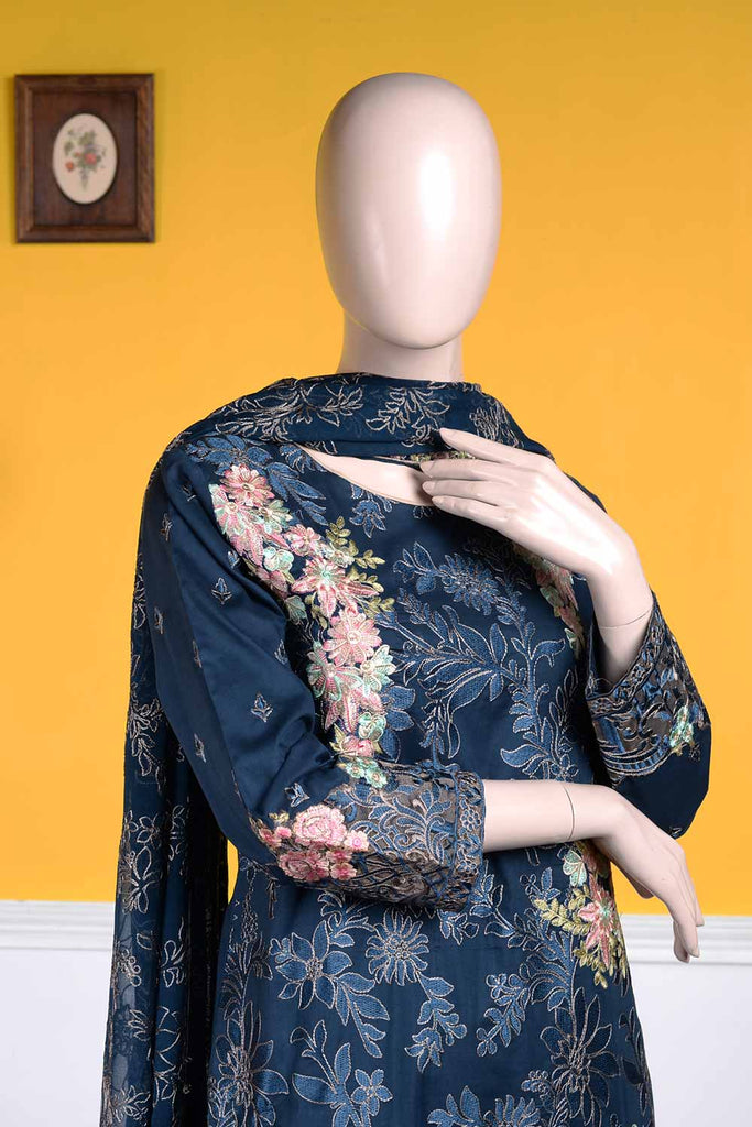 Bold Art (BZ-9B)  | Embroidered Un-stitched Cambric Dress with Chiffon Dupatta