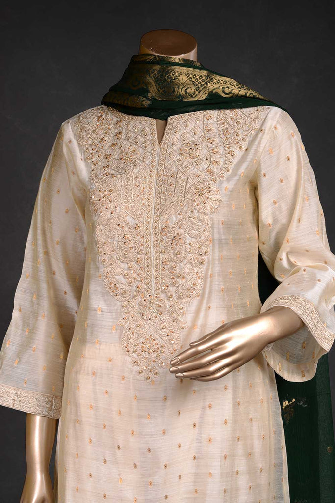 Ethnic Aura (EM-1D) | 3 Pc Mysoori Embroidered Dress with Handicraft Pearl work