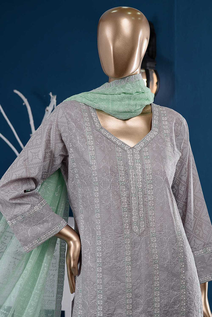 Sea Bird (SC-94A-Light Purple) Embroidered Cambric Dress with Embroidered Chiffon Dupatta