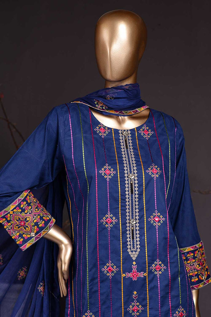 Sindhi Stripe (SC-83A-Royal Blue) Embroidered Un-Stitched Cambric Dress With Embroidered Chiffon Dupatta