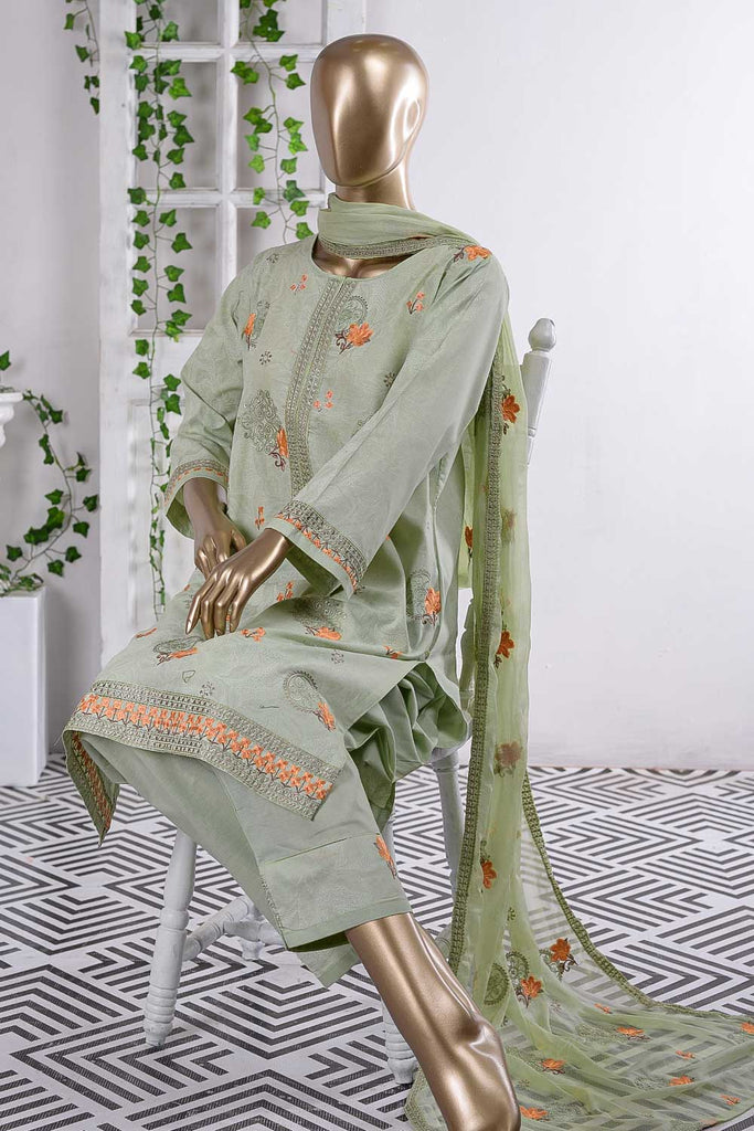 Fuwaara (SC-56B-Light Green) Embroidered Cambric Dress with Embroidered Chiffon Dupatta