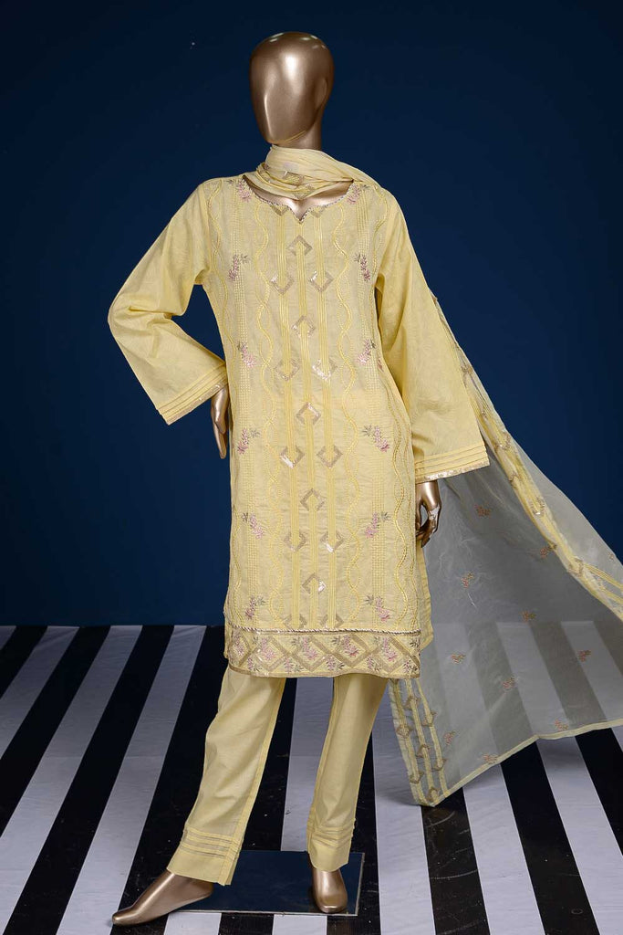 Garlic Stripes (SC-64C-Yellow) Embroidered Cambric Dress with Embroidered Chiffon Dupatta