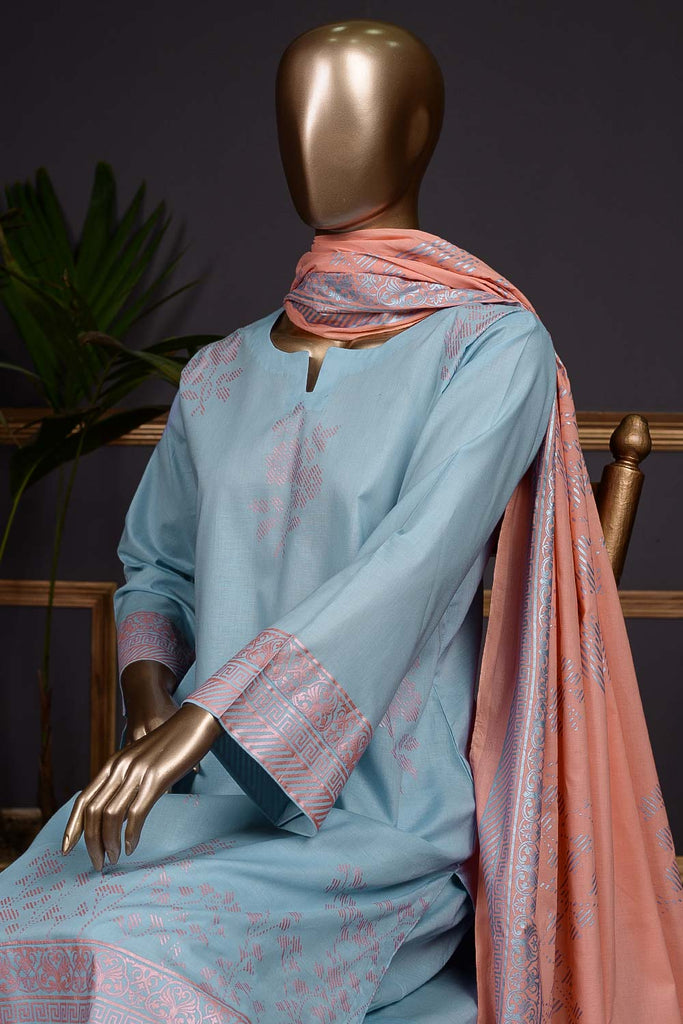 Pure Charisma (CC-1L) 3 Pc Sky Blue Unstitched Printed Cambric Dress with Peach Dupatta