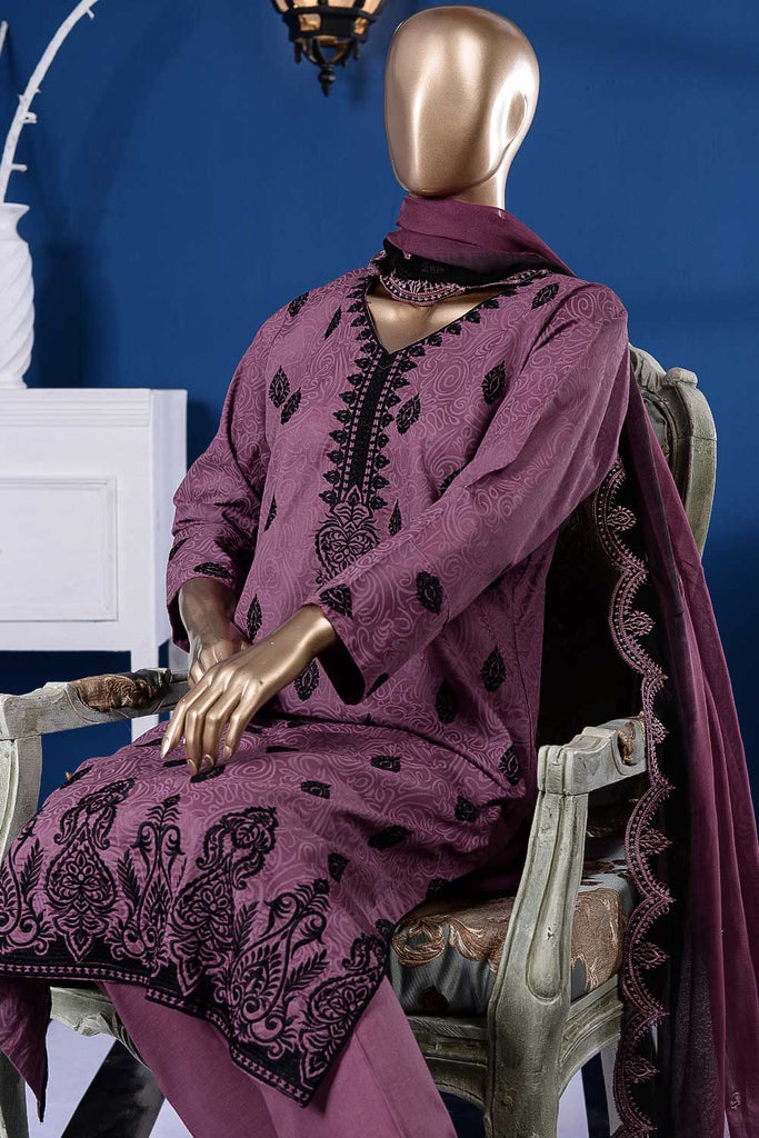 Calligraphy (SC-85A-Purple) Embroidered Un-Stitched Cambric Dress With Embroidered Chiffon Dupattao