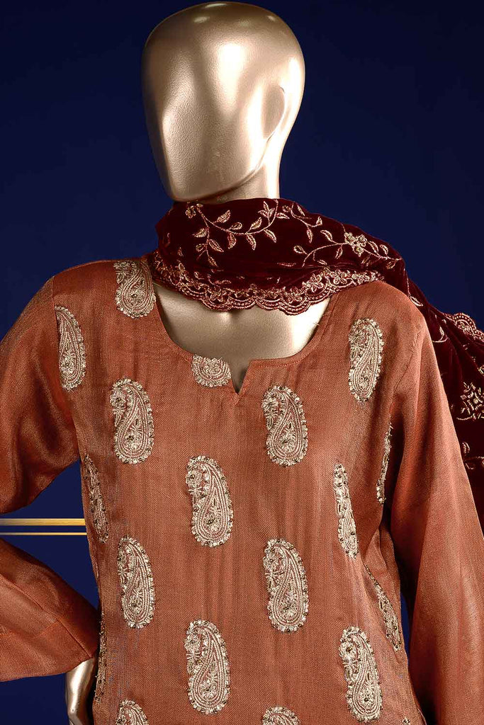 Shining Flesh (VS-2A) Unstitched Embroidered Mysoori Shirt with Embroidered Velvet Shawl