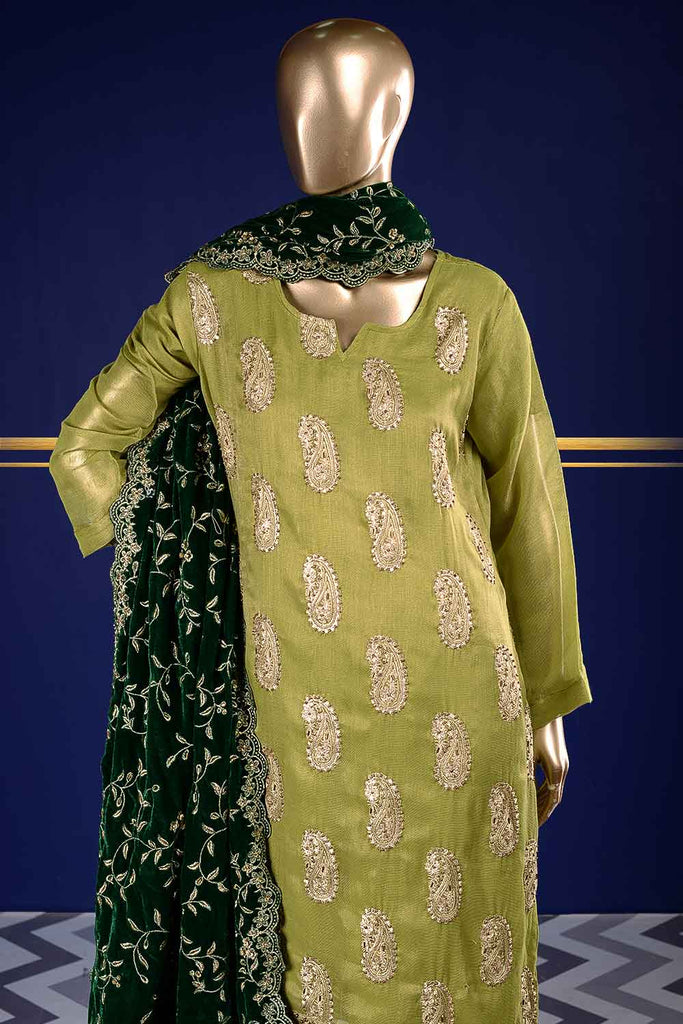 Dazzling Emerald  (VS-2C) Unstitched Embroidered Mysoori Shirt with Embroidered Velvet Shawl