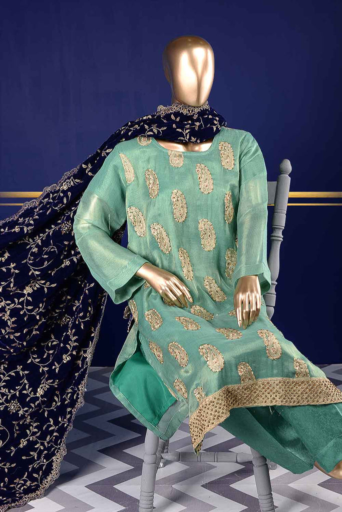 Delicate Sapphire (VS-2D) Unstitched Embroidered Mysoori Shirt with Embroidered Velvet Shawl