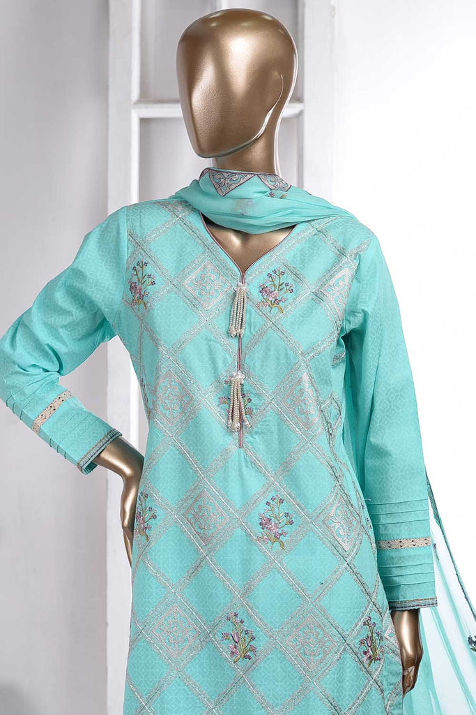 Washer Rumbus (SC-42A-Sky Blue) Embroidered Cambric Dress with Embroidered Chiffon Dupatta