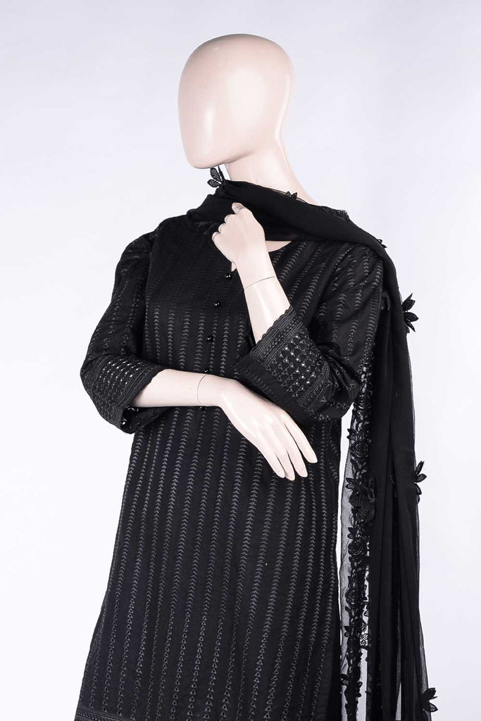 Cataclysmic Beauty (HJC-03) | Schiffli Un-Stitched Lawn Dress With Chiffon Chikan Cutwork Dupatt