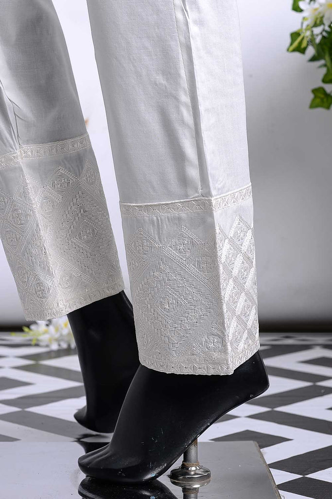 Cambric Embroidered Trouser | Cube Bottom Offwhite (GP-28A)