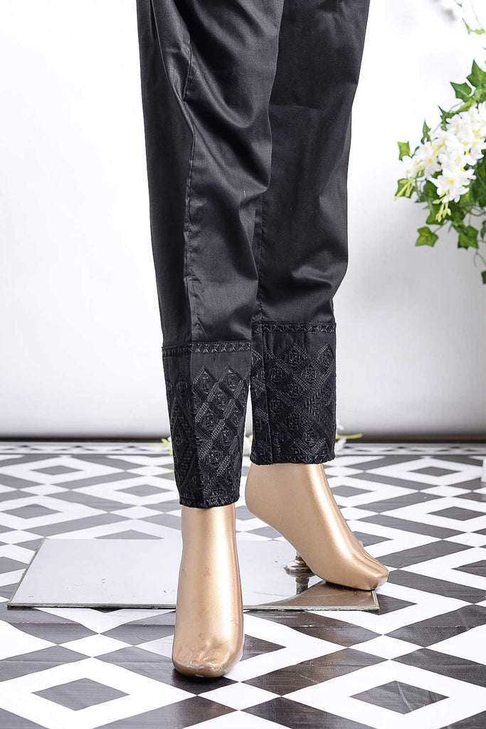 Cambric Embroidered Trouser | Cube Bottom Black (GP-28B)