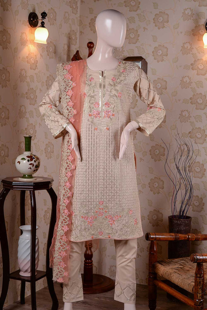 Thunderstorm (BZ-3) | Embroidered Un-stitched Cambric Dress with Net Embroidered Dupatta