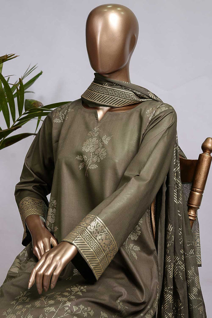 Pure Charisma (CC-1M-C-Olive Green) 3 Pc Unstitched Printed Cambric Dress with Chiffon Dupatta