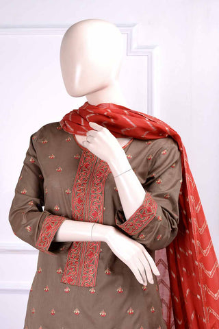 Glorious (RM-3A) | Embroidered Un-stitched Lawn Dress with Cotton Banarsi Trouser & Lawn Banarsi Dupatta