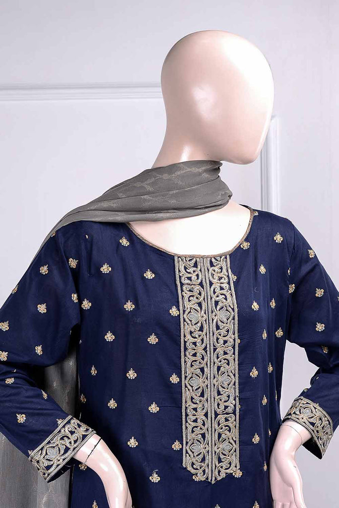 Glorious (RM-3B) | Embroidered Un-stitched Lawn Dress with Cotton Banarsi Trouser & Lawn Banarsi Dupatta