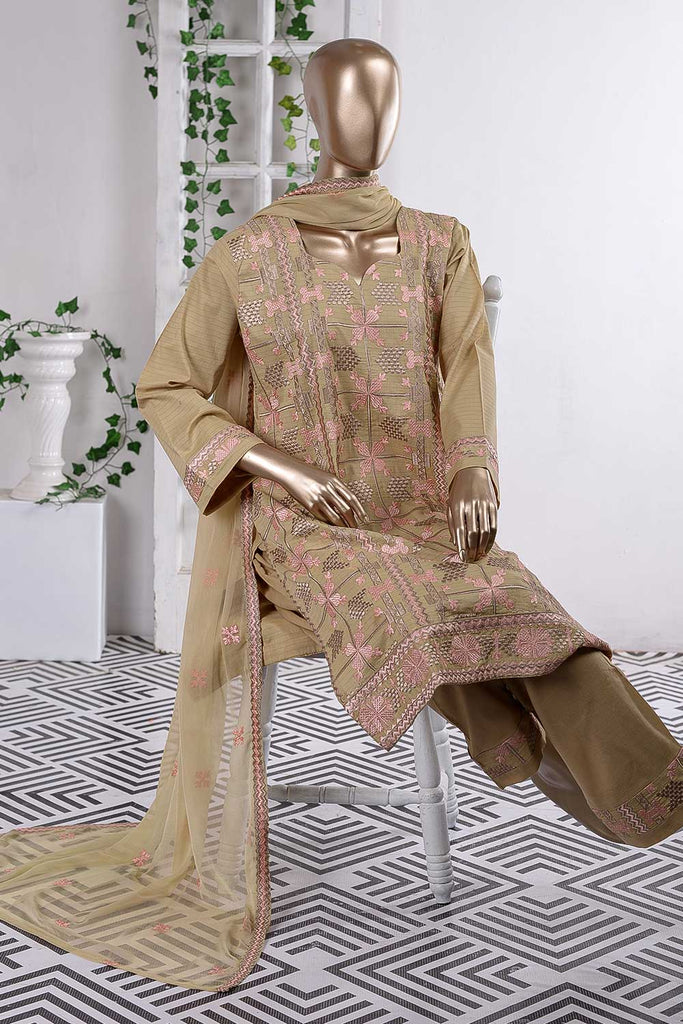 Taj Mahal (SC-57B-Brown) Embroidered Cambric Dress with Embroidered Chiffon Dupatta