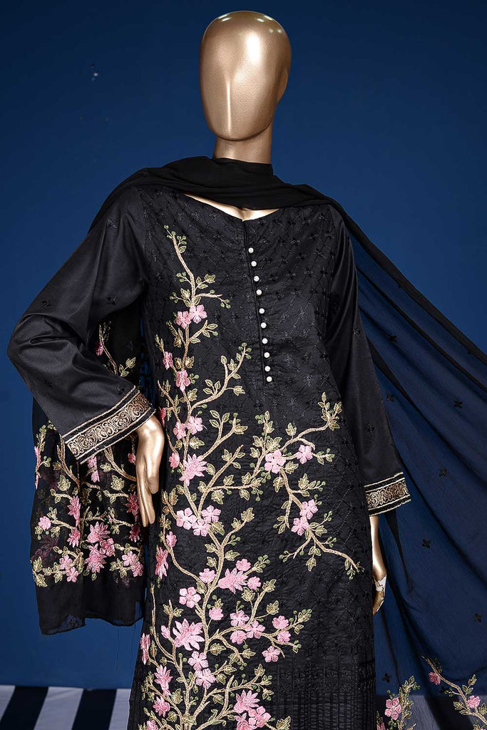 Big Tree (BZ-4C-Black) 3pc Embroidered Cambric Dress with Embroidered Chiffon Dupatta