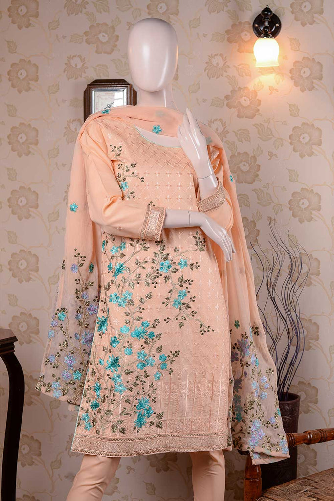 Tree (BZ-4B) Embroidered Un-stitched Peach Cambric Dress with Chiffon Dupatta