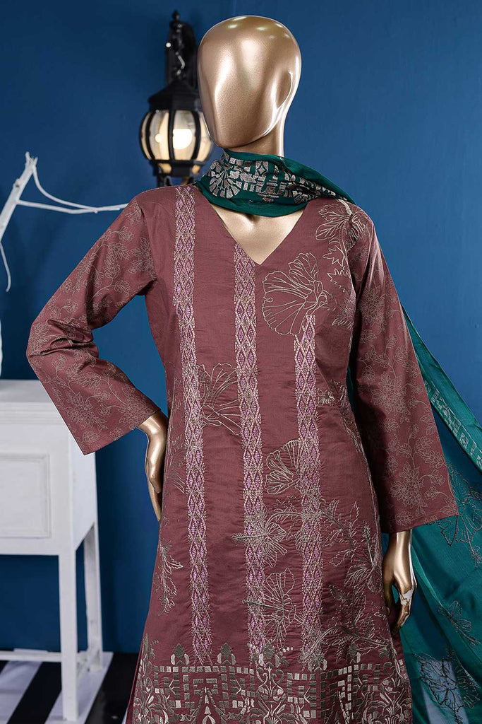 Sadabahar (SC-92B-Magenta) Embroidered Cambric Dress with Embroidered Chiffon Dupatta