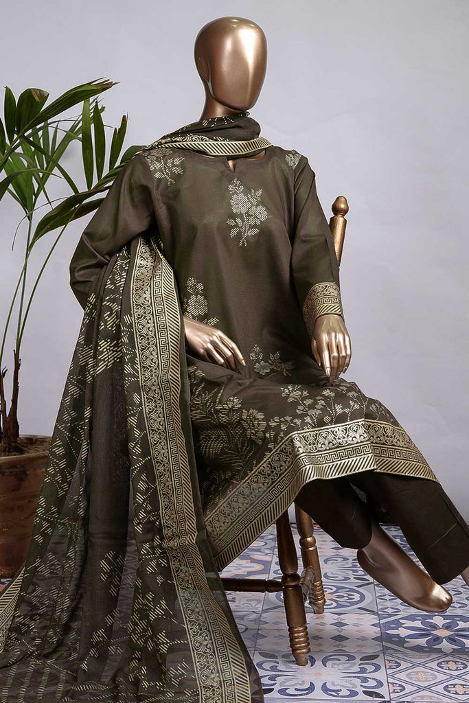 Pure Charisma (CC-1N-C-Brown) 3 Pc Unstitched Printed Cambric Dress with Chiffon Dupatta