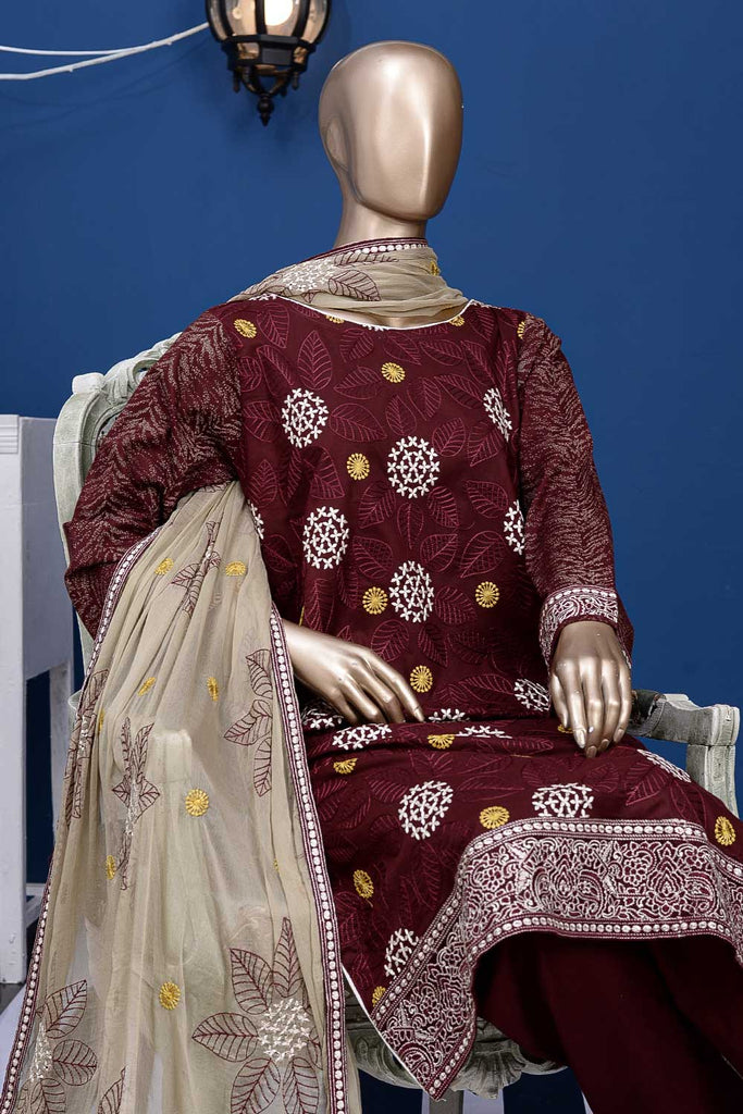 Snow Leaf (SC-16A-Maroon) Embroidered Un-Stitched Cambric Dress With Chiffon Dupatta