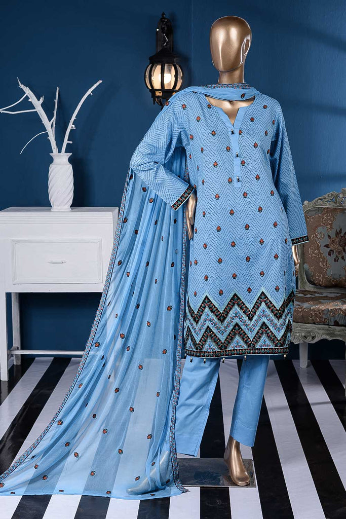 Zig Zag (SC-15A-Blue) Embroidered Un-Stitched Cambric Dress With Chiffon Dupatta