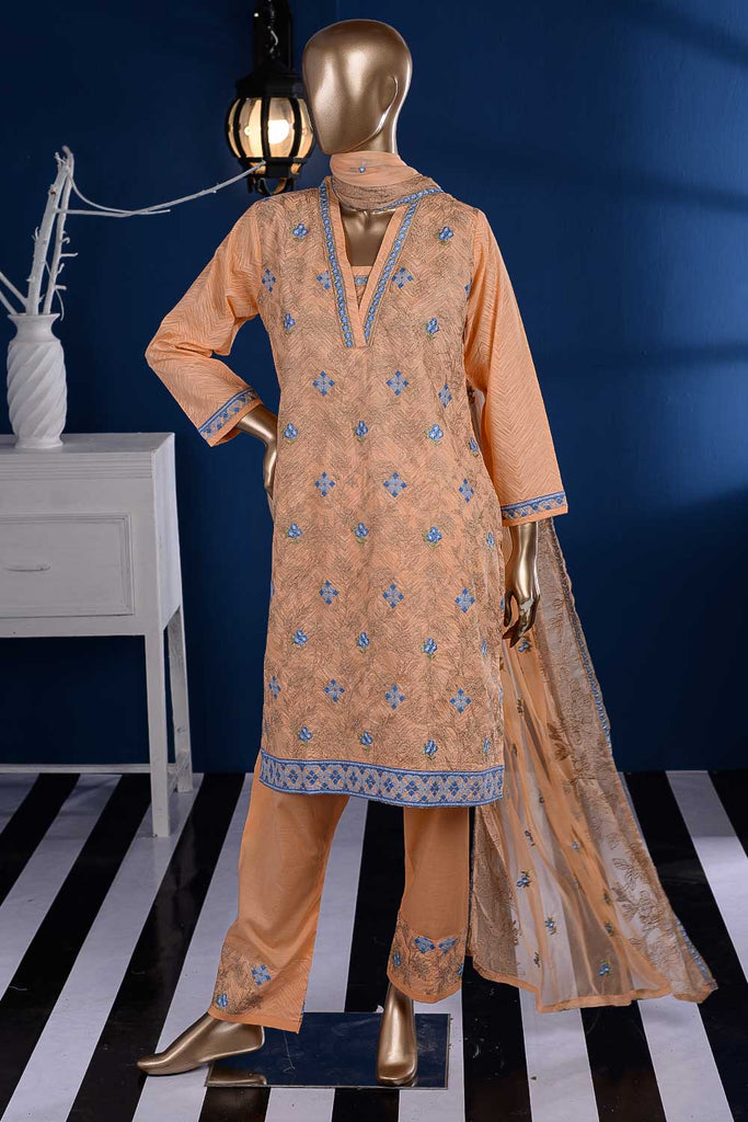 Dancing Floor (SC-88A-Orange) Embroidered Cambric Dress with Embroidered Chiffon Dupatta