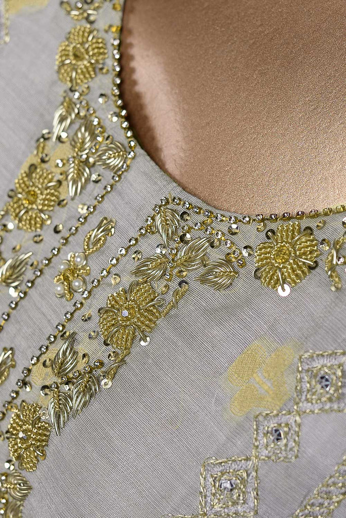 Exotic twist (EM-4A) | 3 Pc Mysoori Embroidered Dress with Handicraft Pearl work with Raw Silk Trouser & Banarsi Chiffon Dupatta