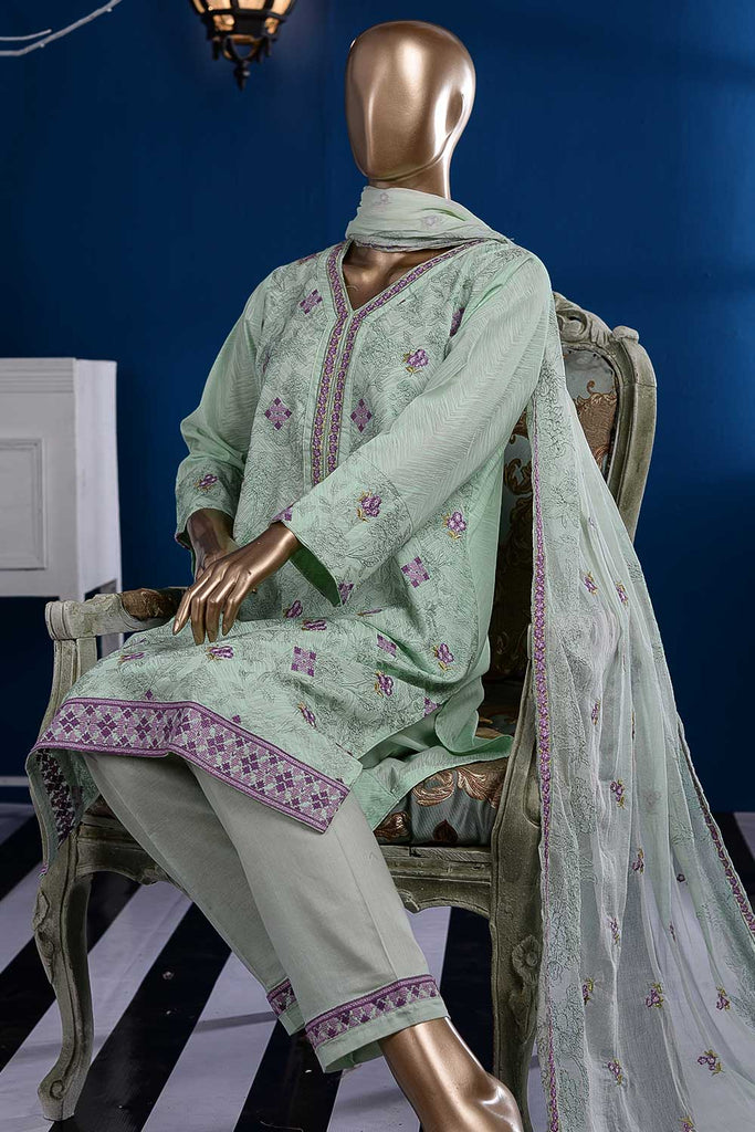 Dancing Floor (SC-88B-Cyan) Embroidered Cambric Dress with Embroidered Chiffon Dupatta