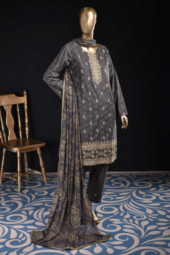 Apsara (SC-40D-GrayishPurple) Embroidered & Printed Un-Stitched Cambric Dress With Embroidered Chiffon Dupatta