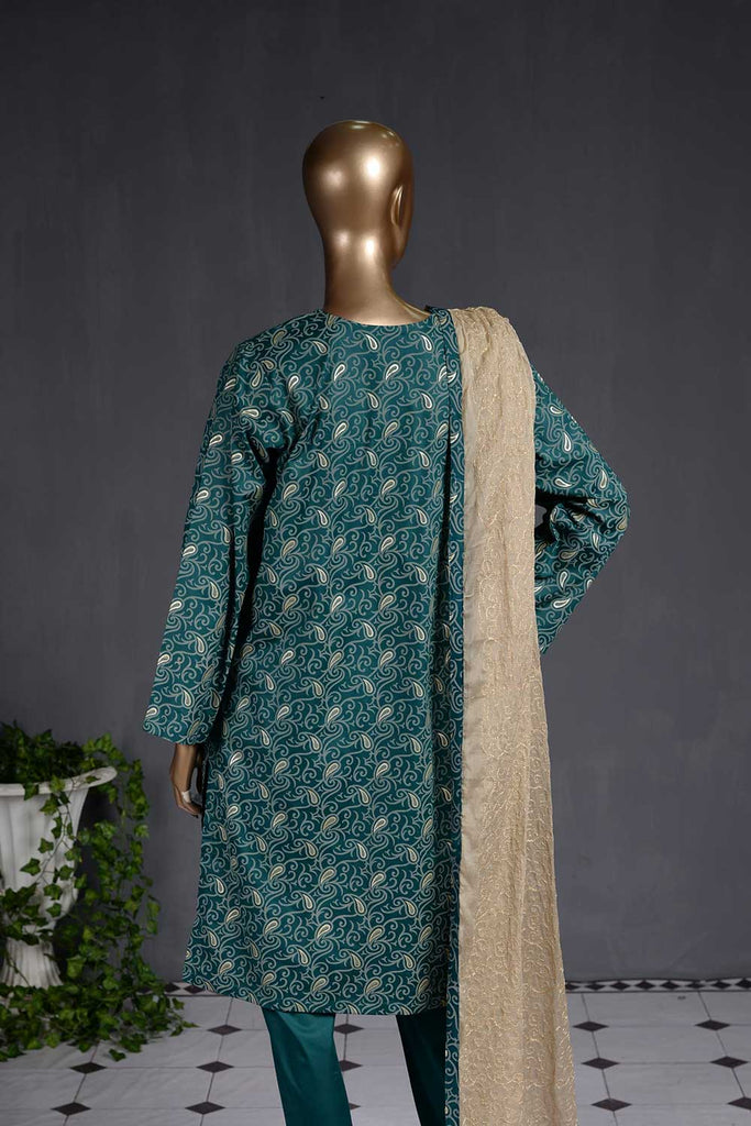 Almond Print (SC-7C-SeaGreen) Embroidered Un-stitched Cambric Dress with Chiffon Dupatta