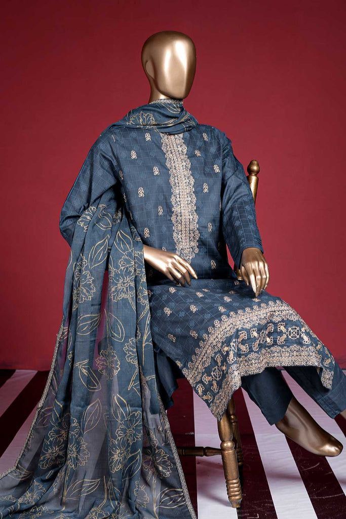 Apsara (SC-40B-BluishGrey) Embroidered Cambric Dress with Embroidered Chiffon Dupatta