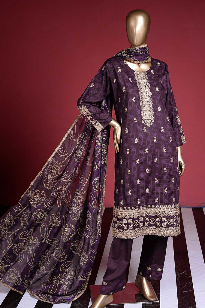 Apsara (SC-40C-Purple) Embroidered Cambric Dress with Embroidered Chiffon Dupatta