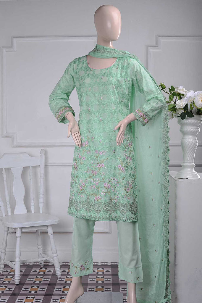 Arri Jaal (SC-24A-Pista) Embroidered Un-Stitched Cambric Dress With Embroidered Chiffon Dupatta