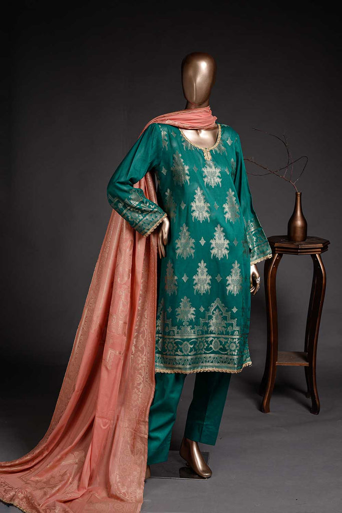 Frozen Affair (BD2-02) 3-Piece Un-stitched Jacquard Banarsi Lawn Dress