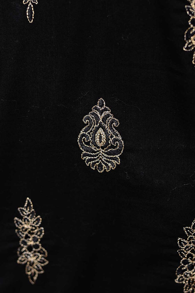 Bush (SC-102B-Black) Embroidered Un-Stitched Cambric Dress With Printed Cambric Dupatta