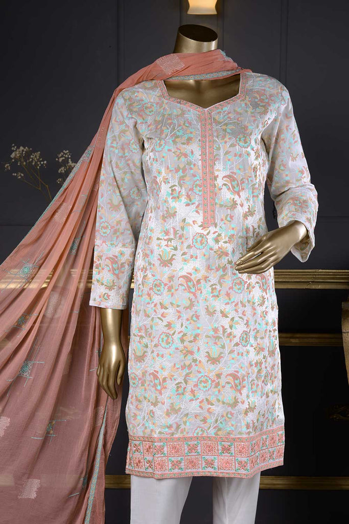 English (SC-23A-White) Embroidered Un-Stitched Cambric Dress With Chiffon Dupatta