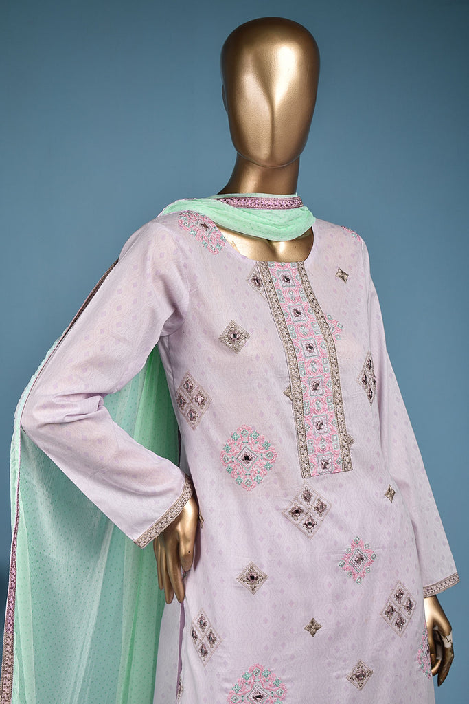 Barfi Sheesha (SC-148C-Purple) Embroidered & Printed Un-Stitched Cotton Dress With Embroidered Chiffon Dupatta