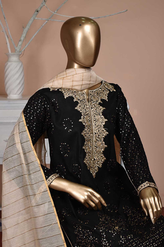Sequins (BZ-11B) | Fully Embroidered Unstitched Cambric Dress with Mysoori Dupatta