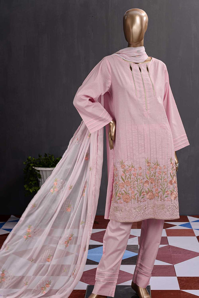 Breakline (SC-99A-Pink) Embroidered Cambric Dress with Embroidered Chiffon Dupatta