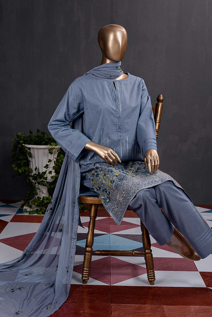 Breakline (SC-99B-Blue) Embroidered Cambric Dress with Embroidered Chiffon Dupatta